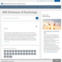 stress – APA Dictionary of Psychology