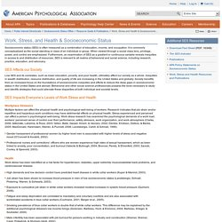 Work, Stress and Health & Socioeconomic Status
