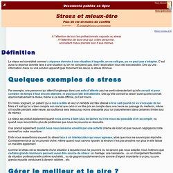 Stress et mieux-être (plus de vie, moins de conflits)