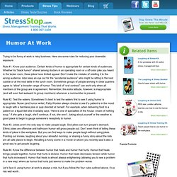 Humor At Work an Article from StressStop, the Leader in Stress Management Training