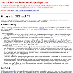 Strings in .NET and C#