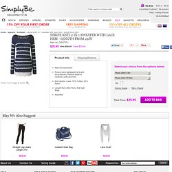 Stripe Knit 2 In 1 Sweater With Lace Hem - Length from 29in at Simply Be