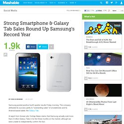 Strong Smartphone & Galaxy Tab Sales Round Up Samsung's Record Year