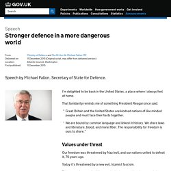 Stronger defence in a more dangerous world - Speeches