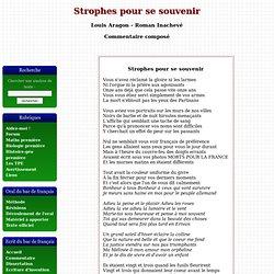 Strophes pour se souvenir - Louis Aragon - Roman Inachevé