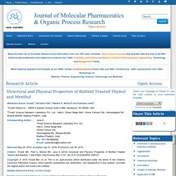 Structural and Physical Properties of Biofield Treated Thymol and Menthol