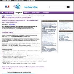 Structurations des connaissances - progressivité sur les niveaux du collège