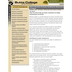 How to Structure An Essay: Avoiding Six Weaknesses In Papers - TIP Sheet - Butte College