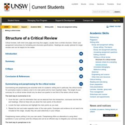 Structure of a Critical Review