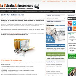 La structure du business plan
