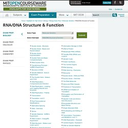 Free Online MIT Course Materials for High School | RNA/DNA Structure & Function | MIT OpenCourseWare