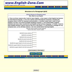 Structure of a Paragraph Quiz