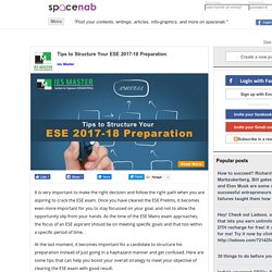 Tips to Structure Your ESE 2017-18 Preparation