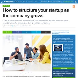 How to structure your startup as the company grows