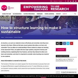 How to structure learning to make it sustainable – THE EDUCATION HUB