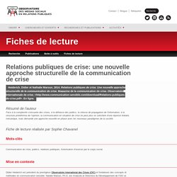 Relations publiques de crise: une nouvelle approche structurelle de la communication de crise