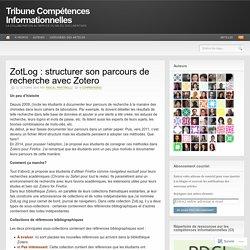 ZotLog : structurer son parcours de recherche avec Zotero