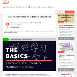 Basic Structures of Chinese Sentences - CCHATTY
