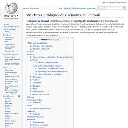 Structures juridiques des Témoins de Jéhovah