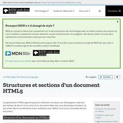 Structures et sections d'un document HTML5 - HTML (HyperText Markup Language)