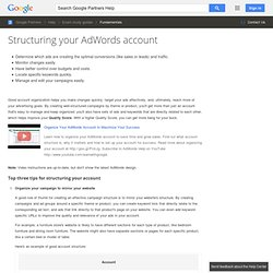 Structuring your AdWords account - Google Partners Help