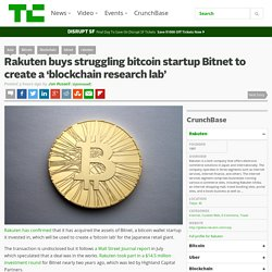 Rakuten buys struggling bitcoin startup Bitnet to create a 'blockchain research lab'