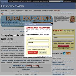 Struggling to Survive in Era of Dwindling Resources - Rural Education