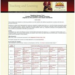 Grades 4-5 Student Center Activities: Literature (CCSS)