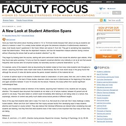 A New Look at Student Attention Spans