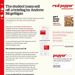 The student loans sell off: a briefing by Andrew Mcgettigan