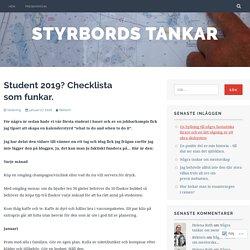 Student 2019? Checklista som funkar. – Styrbords tankar