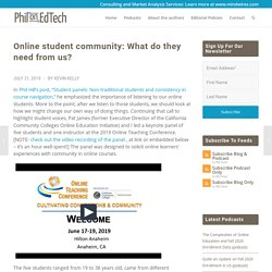 Online student community: What do they need from us? - PhilOnEdTech