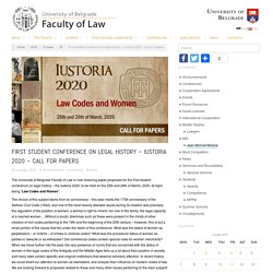 First student conference on legal history – Iustoria 2020 – Call for Papers