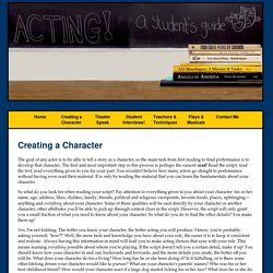ACTING! a student's guide - Creating a Character