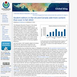 Student editors in the US and Canada add more content than ever in fall 2013