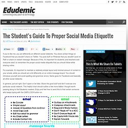 The Student's Guide To Proper Social Media Etiquette