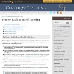 Student Evaluations of Teaching