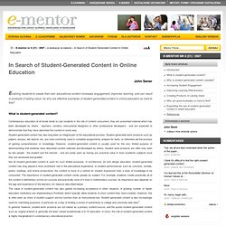 In Search of Student-Generated Content in Online Education