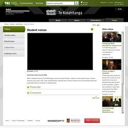 Student voices / Interviews / Videos / Te Kotahitanga - Home - Te Kotahitanga