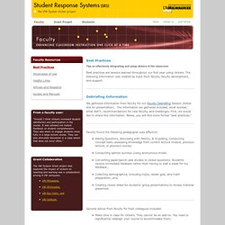 Student Response System: Faculty: Best Practices