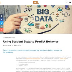 Student Data can Reveal At Risk Students Sooner