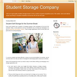 Student Storage Company: Student Self Storage for the Summer Break