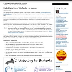 Student Voice Comes With Teachers as Listeners