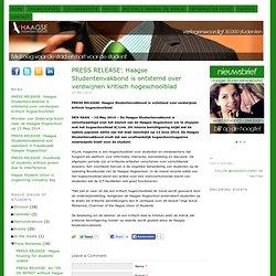 PERSBERICHT: Haagse Studentenvakbond is ontstemd over verdwijnen kritisch hogeschoolblad — Haagse Studentenvakbond