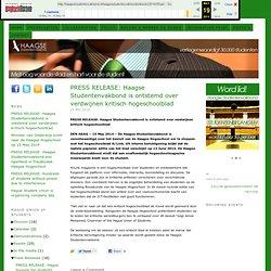 PRESS RELEASE: Haagse Studentenvakbond is ontstemd over verdwijnen kritisch hogeschoolblad — Haagse Studentenvakbond