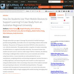 A Case Study from an Australian Regional University. - How Do Students Use Their Mobile Devices to Support Learning?