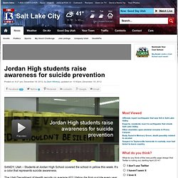 Jordan High students raise awareness for suicide prevention