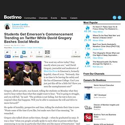 Students Get Emerson's Commencement Trending on Twitter While David Gregory Bashes Social Media
