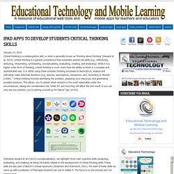 iPad Apps to Develop Students Critical Thinking Skills