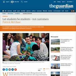 Let students be students – not customers